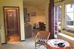 Küchenzeile und Bad des Landhaus Appartement für 2 Personen in meiner Heidefarm